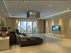 现代现代风格客厅电视墙装修图