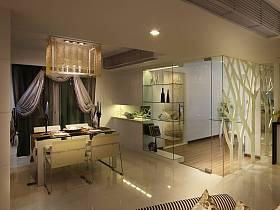 现代餐厅吊顶窗帘酒柜图片