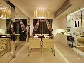 现代餐厅吊顶窗帘酒柜装修效果展示