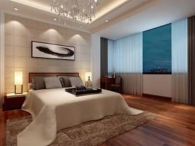 现代卧室单身公寓吊顶窗帘装修案例