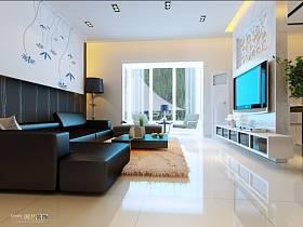 客厅吊顶窗帘电视柜电视背景墙装修效果展示