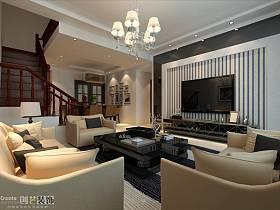 现代简约客厅复式楼吊顶电视背景墙设计方案
