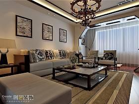 中式中式风格客厅复式楼吊顶案例展示