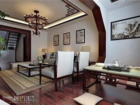 中式中式风格客厅复式楼效果图
