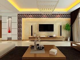 现代客厅吊顶电视背景墙水晶灯水晶吸顶灯案例展示