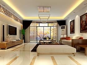 现代客厅吊顶电视背景墙水晶灯水晶吸顶灯装修效果展示