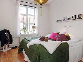 北欧清新自然简约北欧风格卧室背景墙木地板效果图