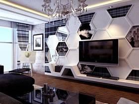 现代时尚窗帘背景墙电视背景墙装修案例