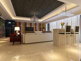 现代简约简欧客厅吧台设计图