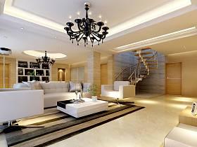 现代简约客厅楼梯装修效果展示
