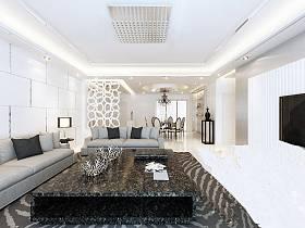 现代简约新古典客厅隔断设计案例