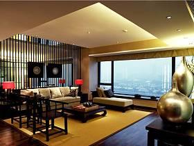 新中式客厅吊顶隔断效果图