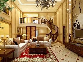 欧式客厅背景墙楼梯沙发装修图