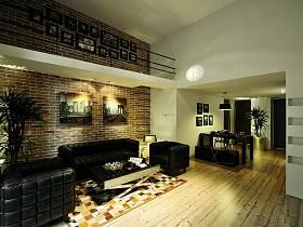 现代简约复古客厅效果图