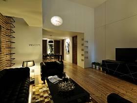 现代简约复古客厅装修图