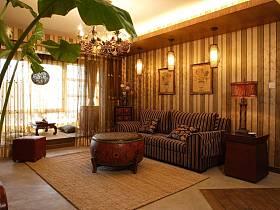 欧式美式复古客厅装修案例