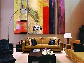 现代简约客厅背景墙沙发台灯装修图