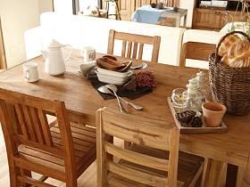 日式自然餐桌椅子木质餐桌椅装修图