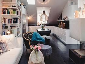 复古温馨阁楼70平米储物柜灯具效果图