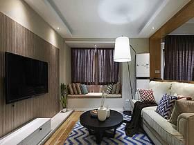 时尚客厅阳台窗帘背景墙沙发装修图