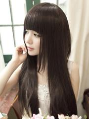 淑女范齐刘海长直发发型图片[2P]