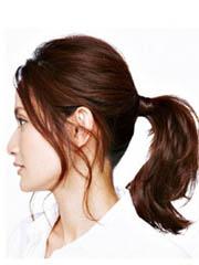 中分长刘海马尾发型扎法图解[4P]