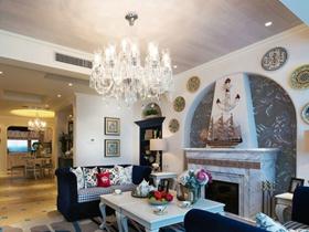 藍色系美式休閑二居室裝修案例欣賞