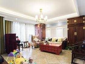 104平米中式古典清新三居裝修效果圖