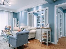 北歐風格藍色清爽二居室設計效果圖