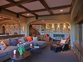 创意混搭多彩客厅吊顶装修效果图