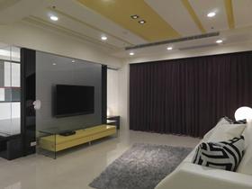 现代风格黄色客厅吊顶图片