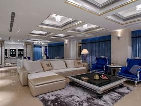 簡歐風格浪漫白色客廳吊頂設計裝潢