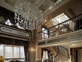 黑色奢华新古典风格客厅吊顶设计装潢