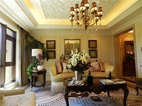 黄色欧式客厅吊顶美图欣赏