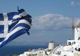 随风摆动的希腊国旗图片_10张