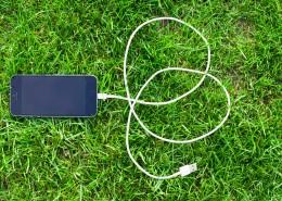 草地上的手机图片_11张