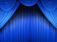 青春主题蓝色舞台幕布背景图