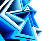 立體幾何圖形時尚藍色背景圖片