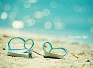 浪漫夏日沙灘唯美清新素雅風景圖