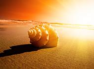 浪漫夕阳沙滩高清唯美背景图片