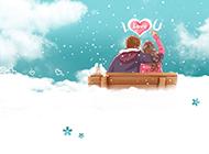 浪漫可愛情侶卡通主題背景圖片