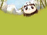 熊猫母子可爱ppt背景图片
