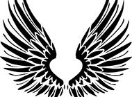好看的黑白色帶翅膀背景圖