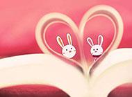 甜美粉色小兔子可爱动漫精美图片背景