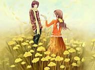 高清卡通浪漫情侶背景圖片