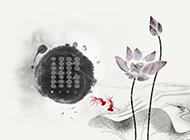 淡雅中國風水墨畫背景圖片
