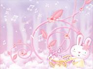 淡雅粉色音樂小兔可愛背景圖片