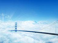 藍天白云與高架橋唯美夢幻圖片