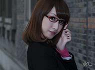 戴眼镜气质女生非主流图片