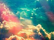 夢幻七彩云朵浪漫唯美天空風景